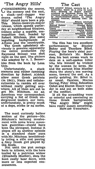 The Angry Hills review in The New York Times 16 July 1959