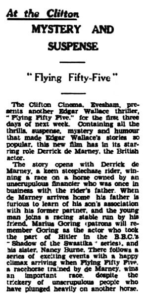 Flying Fifty-Five review in the Evesham Standard & West Midland Observer 10 February 1940