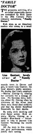 Family Doctor/Rx Murder review in the Middlesex County Times 22 March 1958