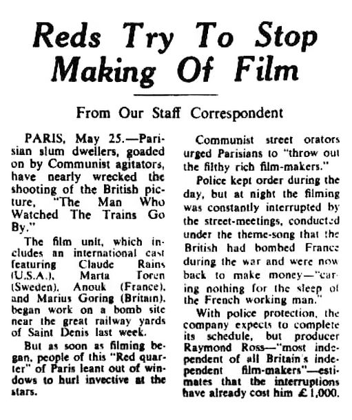 The Man Who Watched Trains Go By article - Reds Try to Stop Making of Film in The Sydney Morning Herald 26 May 1952