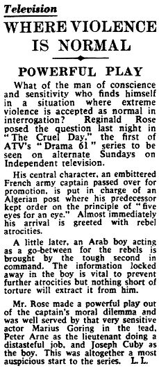 The Cruel Day review in The Daily Telegraph 20 March 1961