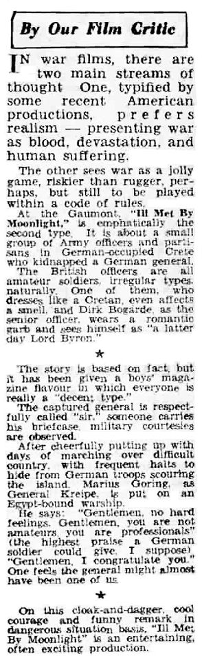 Ill Met By Moonlight review in the Coventry Evening Telegraph 2 April 1957