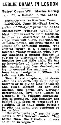 Satyr article & review in The New York Times 16 June 1937