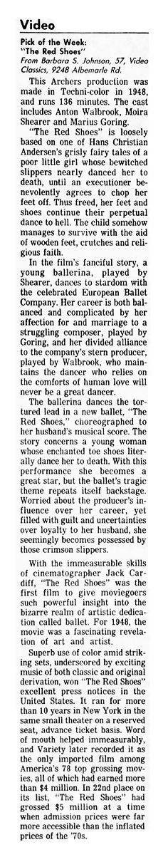 The Red Shoes video release review in The Charlotte Observer 8 July 1987