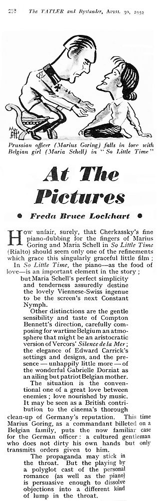 So Little Time review by Freda Bruce Lockhart in The Tatler 30 April 1952