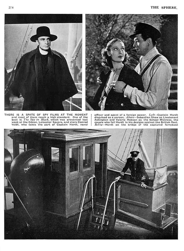 The Spy in Black article & photos in The Sphere 12 August 1939