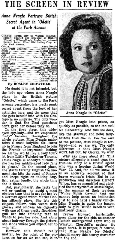 Odette review by Bosley Crowther in The New York Times 28 March 1951