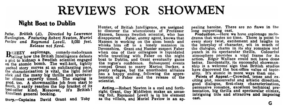 Night Boat to Dublin review in the Kinematograph Weekly 17 January 1946
