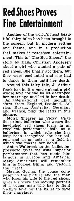 The Red Shoes review in the Clarion Ledger Jackson Mississippi 29 May 1949