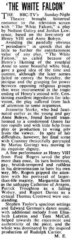 'The White Falcon' review in The Stage 9 February 1956