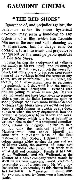 The Red Shoes review in The Times 22 July 1948