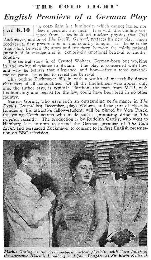 'The Cold Light' article in The Radio Times 27 July 1956