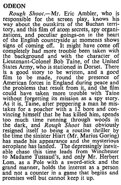 Rough Shoot review in The Times 23 February 1953