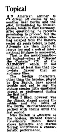 Beyond the Curtain review in the Halifax Evening Courier 20 June 1960