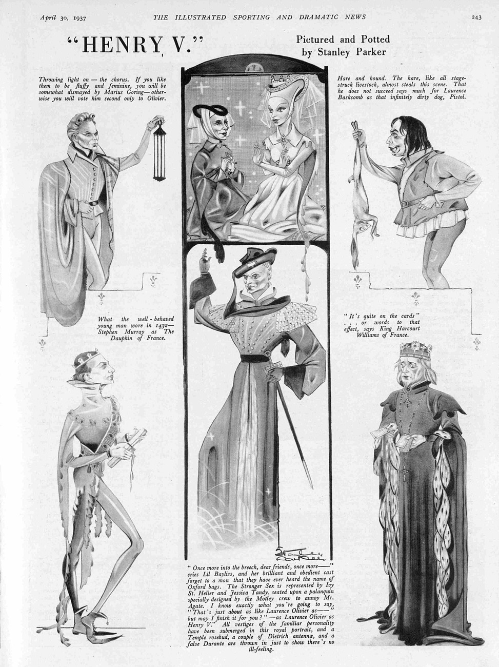 Henry V article & caricatures in Illustrated Sporting and Dramatic News 30 April 1937