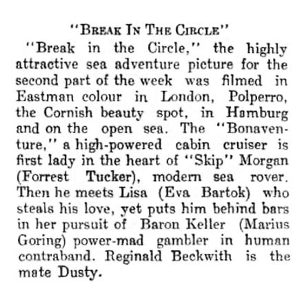 Break in the Circle review in the Brechin Advertiser 26 July 1955