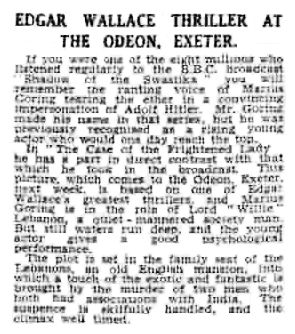 The Case of the Frightened Lady review in the Exeter and Plymouth Gazette 11 October 1940
