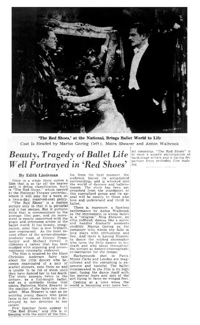 The Red Shoes review in the Richmond Times Dispatch 13 May 1949