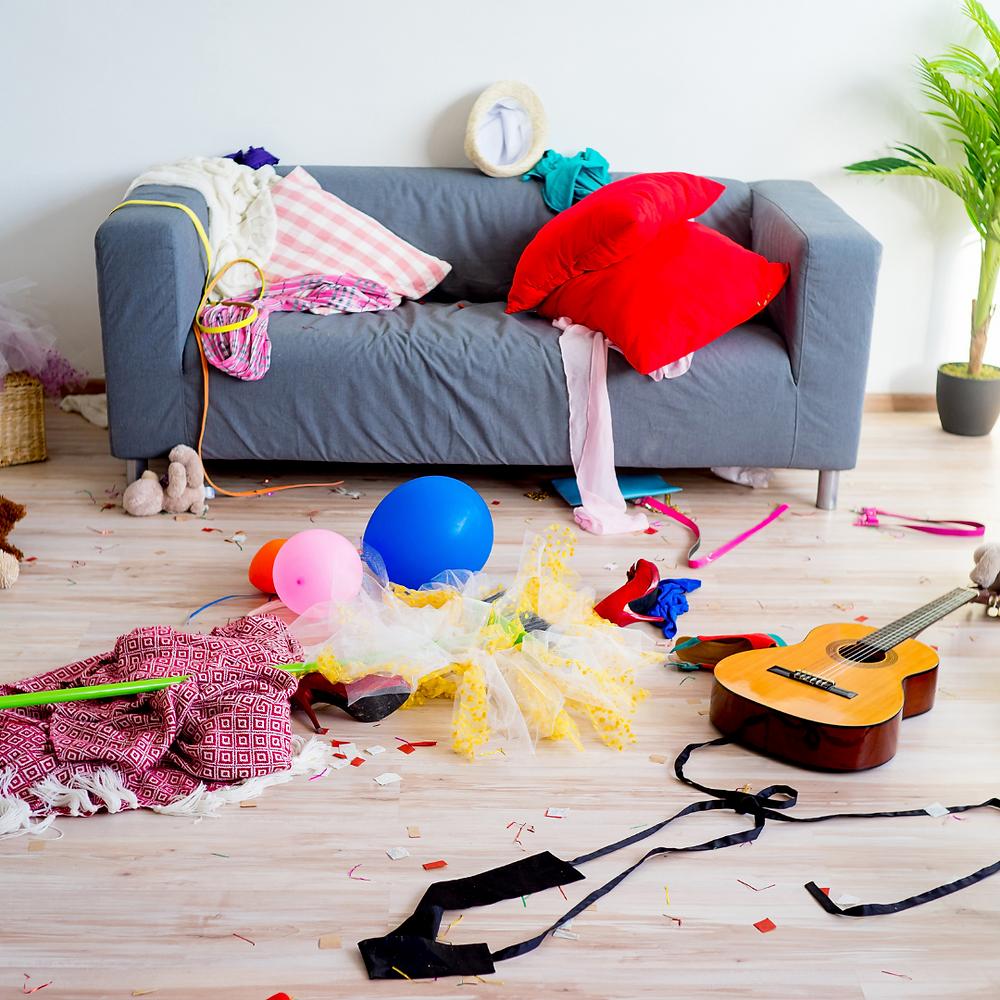 disorganized living room