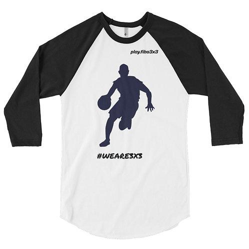 Μακριμάνικη μπλούζα 3/4 Άσπρη-Μαύρη #WEARE3X3