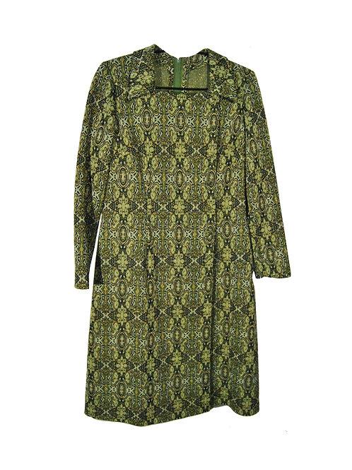 Vihreäkultakuvioinen mekko