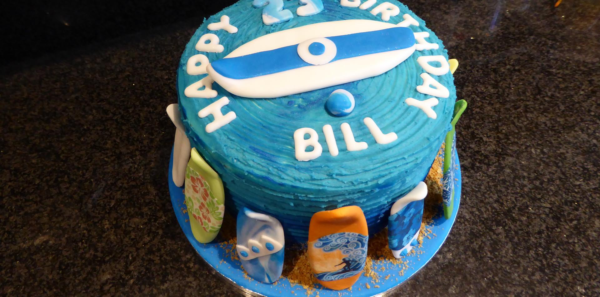 Surf themed birthday cake