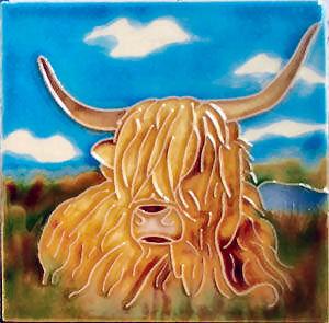 "Highland Cow 4""x4"" - Skye Tile"