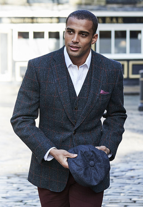 RONAY HARRIS TWEED NAVY WITH RED CHECK JACKET