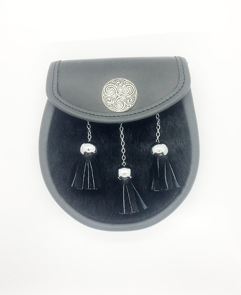 Grey Leather Semi Sporran with Black Seal Skin and Celtic Badge