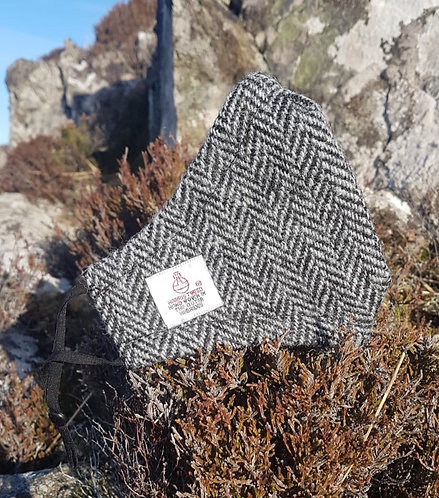 Grey Herringbone Harris Tweed Face Mask