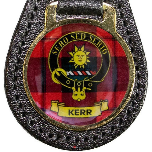 K-M Leather Key Fob Scottish Family Clan Crest