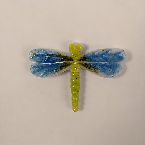 Green and Blue Dragonfly - Cast Glass
