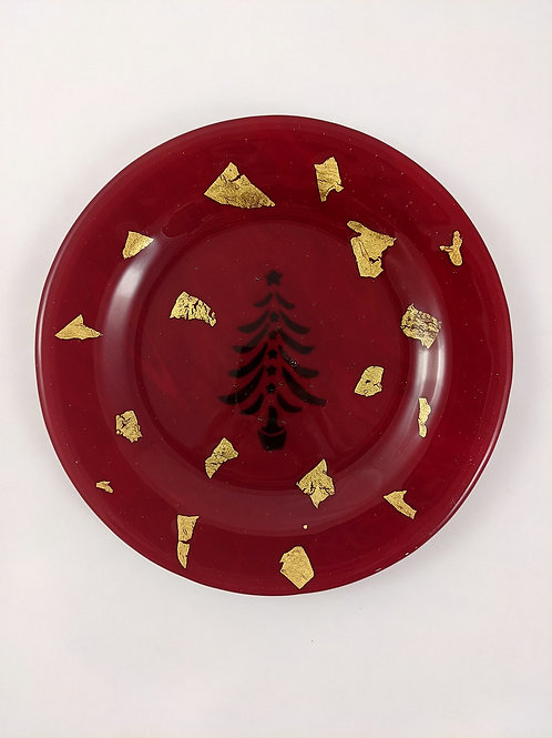 Plate red with gold foil tree