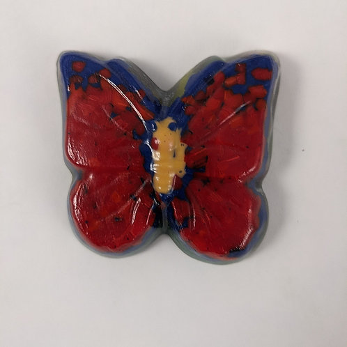 Red and Blue Butterfly - Cast Glass