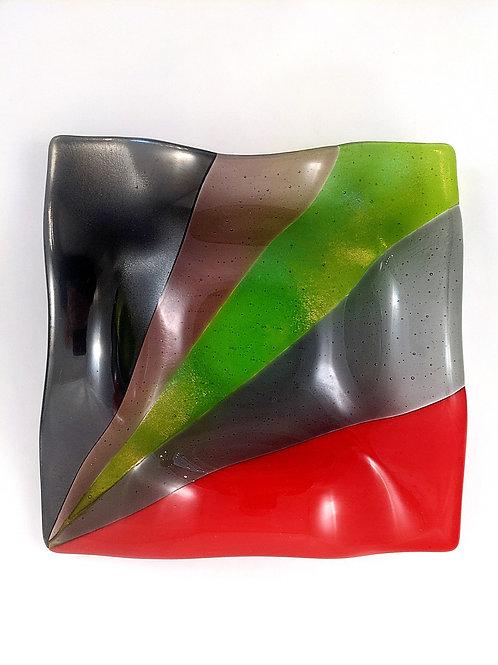 Art Deco Bowl Green and Iridized Smoke