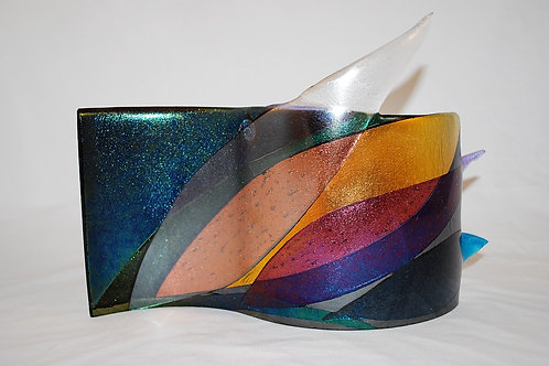 S Curve Irid Green Clear Amber and Lavender w/ Points