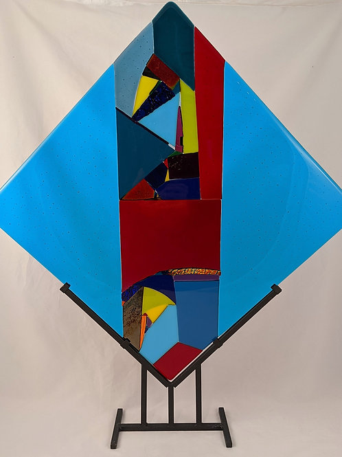 Abstract Diamond Turquoise Blue Sides/Abstract Center w Stand