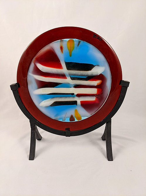 Pressed Glass w/ Multicolored w Dark Red Ring w/ Stand
