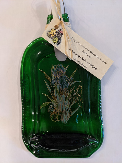 Green Bottle with Iris