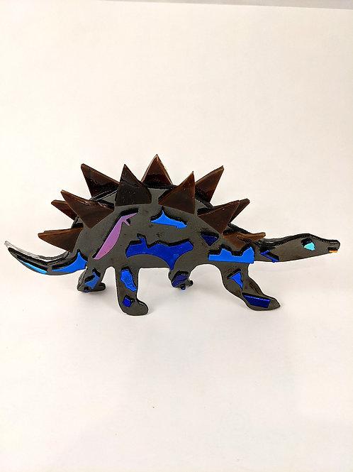 Silver Irid with Blue Dichro Stegosaurus