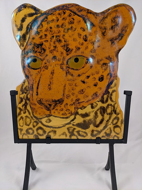 Leopard with stand--iridescent amber