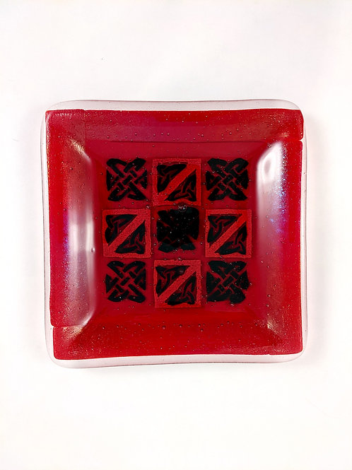 Red Iridescent with Painted Black and Red Frit Square Platter