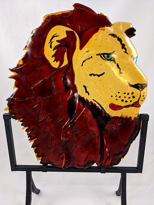 Lion with stand --dark orange with Iridescent amber