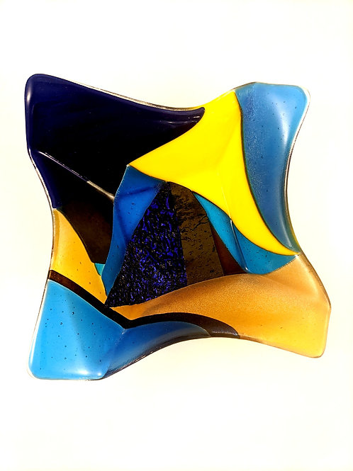 Origami Bowl Blue and Yellow