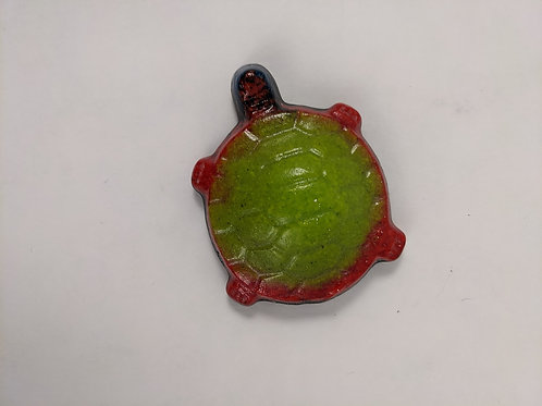 Green and Red Turtle - Cast Glass