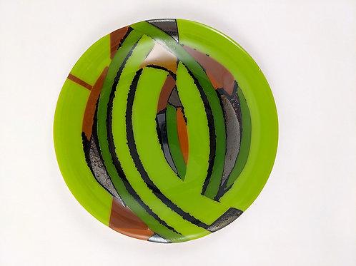 Plate Spring Green Black Frit Multicolor Pattern