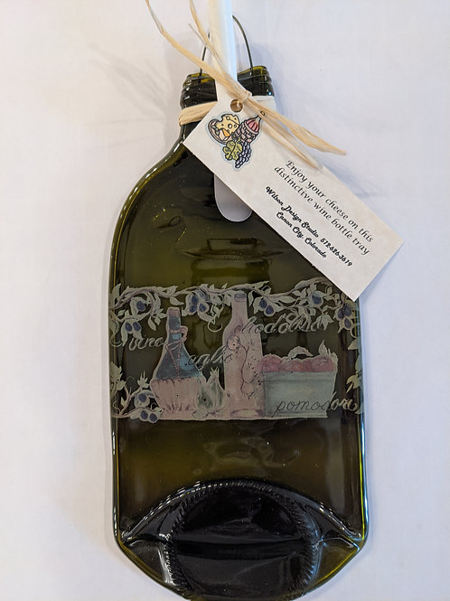 Green Tuscan Wine Bottle Cheese Tray