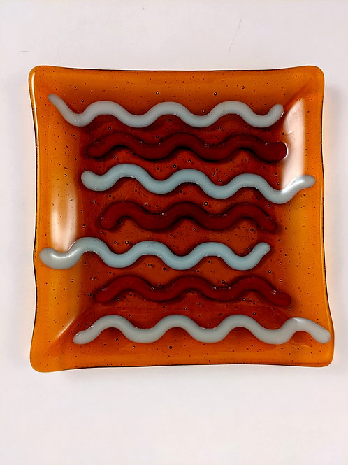Dark Amber w/red and grey squiggles square platter