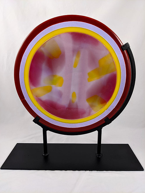 Pressed Glass Lavender & Yellow Center w/ Dark Red Ring w/ Stand