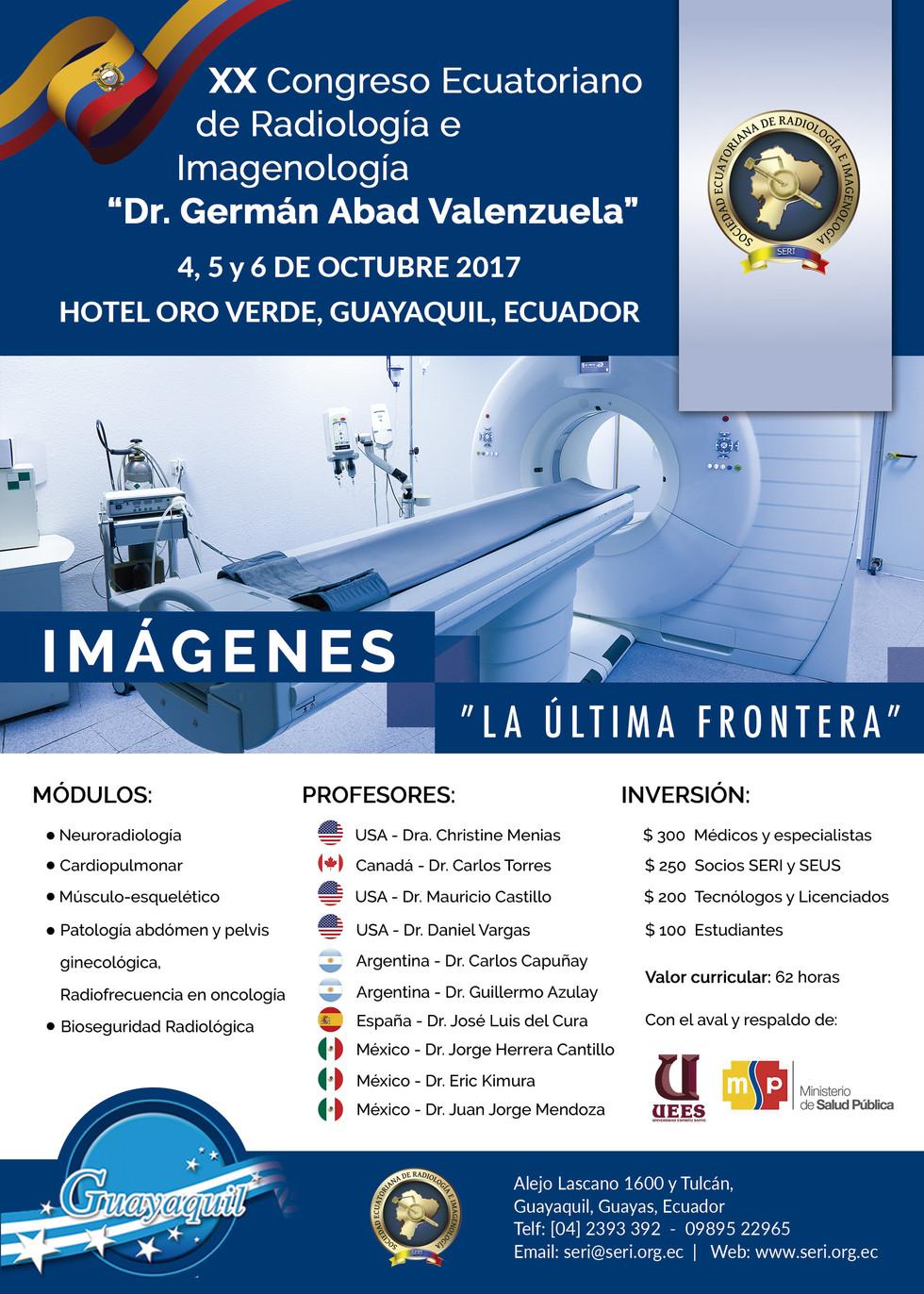 """Afiche del XX Congreso Ecuatoriano de Radiología e Imagenología """"Dr. Germán Abad Valenzuela&quo"""